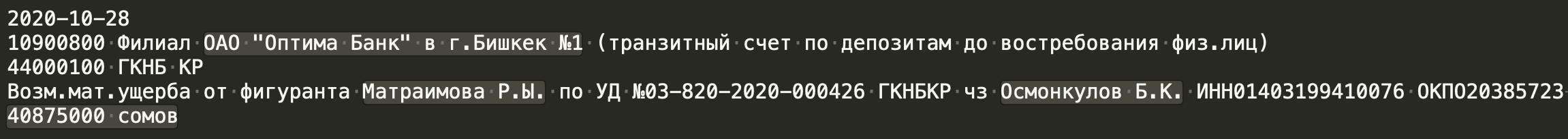 Райымбек Матраимов оплатил 40 миллионов 875 тысяч сомов